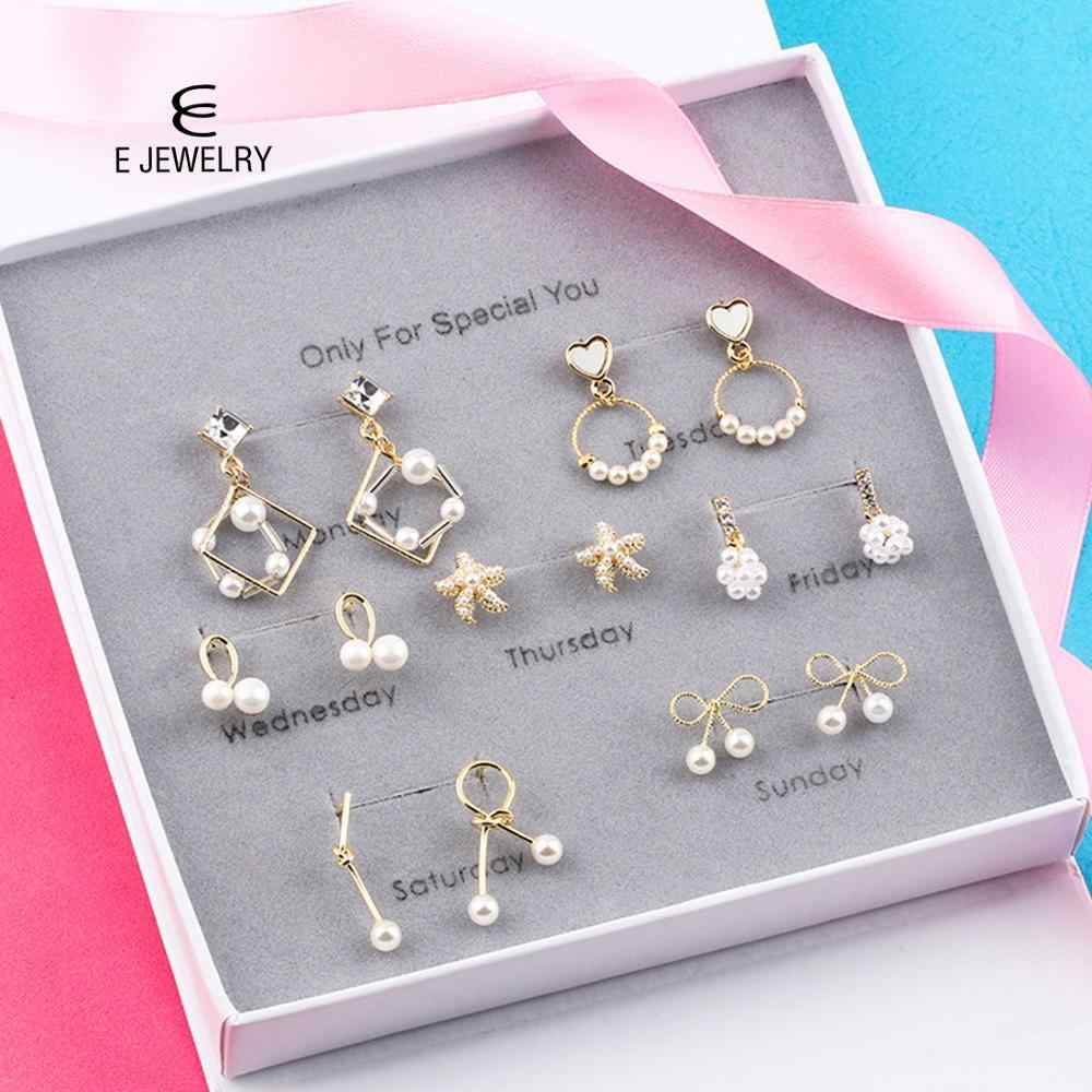 E Jewelry 7pairs/set Mix Weekly Earrings For Women Girls Tiny Ear Studs 2019 New
