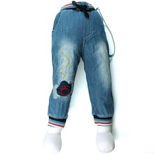 Boys Denim 12M-5Y Children trousers numbers Embroidery Jeans baby Slacks stainless chain child spring MH0657