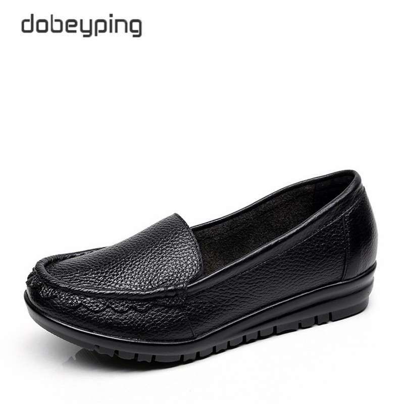 2017 Autumn New Arrival Flats Shoes Woman Genuine Leather Casual Women Shoes Fashion Moccasins Mother Loafers Plus Size 35-43 cyabmoz 2017 flats new arrival brand casual shoes men genuine leather loafers shoes comfortable handmade moccasins shoes oxfords