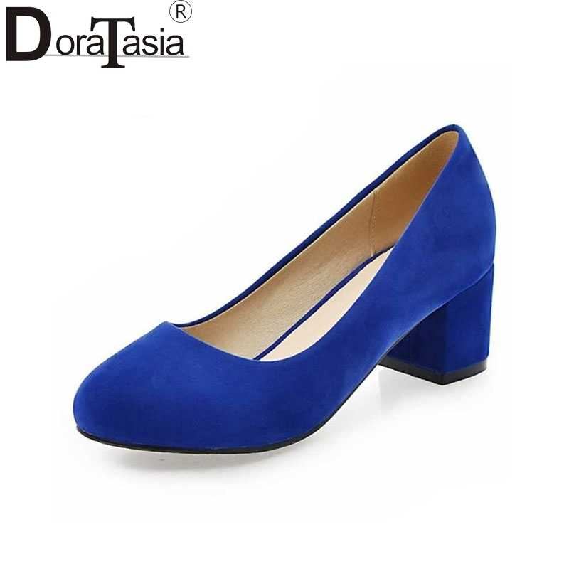 DoraTasia Plus Size 32-43 Lady Women Pumps Fashion Square Heel OL Shoes Woman Casual Dress Flock Upper Round Toe Platform Pumps