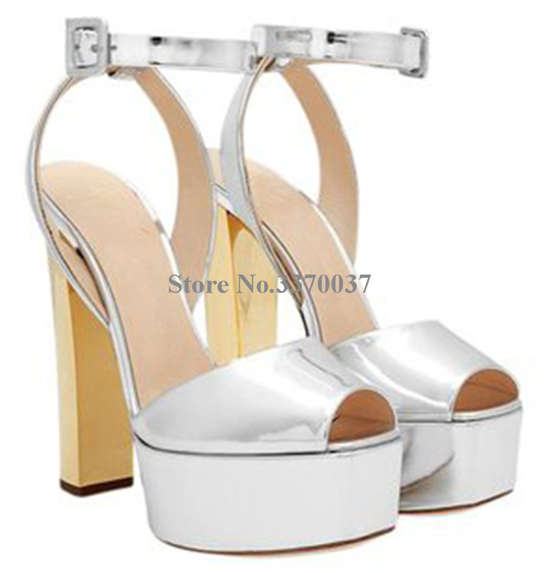 Nouvelle mode femmes bout ouvert or haute plate-forme talon épais pompes miroir en cuir verni bride à la cheville talons hauts chaussures habillées - 3