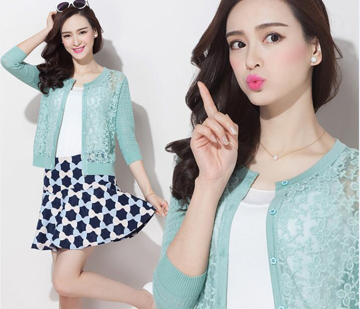 New spring and summer ladies lace cardigan elegant female hollow out lace knitwear cardigan