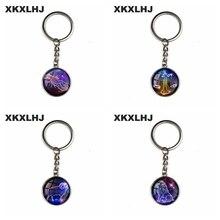 XKXLHJ New 12 Constellation Art Picture Bump Glass Key Chain, Virgo, Leo, Aries, Gemini. Fashion Lady Lucky Keychain Jewelry
