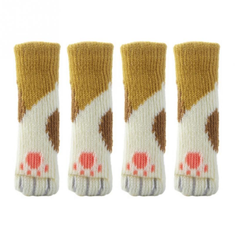 4 Pcs Long Strip Cute Knit Pad Furniture Table Chair Legs Floor Protector Cover 4 pcs set knit home flower floor protector leg sleeve table chair foot cover socks