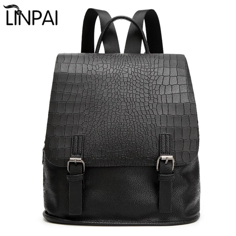 Из искусственной кожи аллигатора Для женщин рюкзак однотонные Винтаж школьная сумка для девочек Рюкзаки для Колледж студентов женская сум...