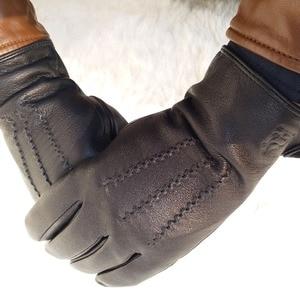 Image 4 - 2020 New  man deer skin leather gloves male warm soft mens glove black three lines design men mittens sheep hair lining