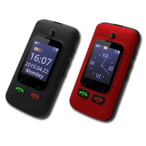 Image 2 - מקורי YINGTAI T22 3G MTK6276 GPRS MMS גדול לדחוף כפתור בכיר טלפון Dual SIM הכפול להעיף מסך עבור הבכור 2.4 אינץ