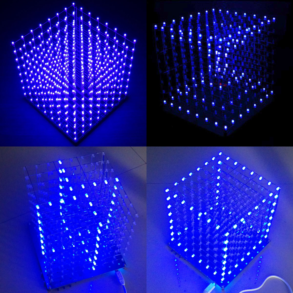 8x8x8 LED Cube 3D Light Square Blue LED Electronic DIY Kit Module