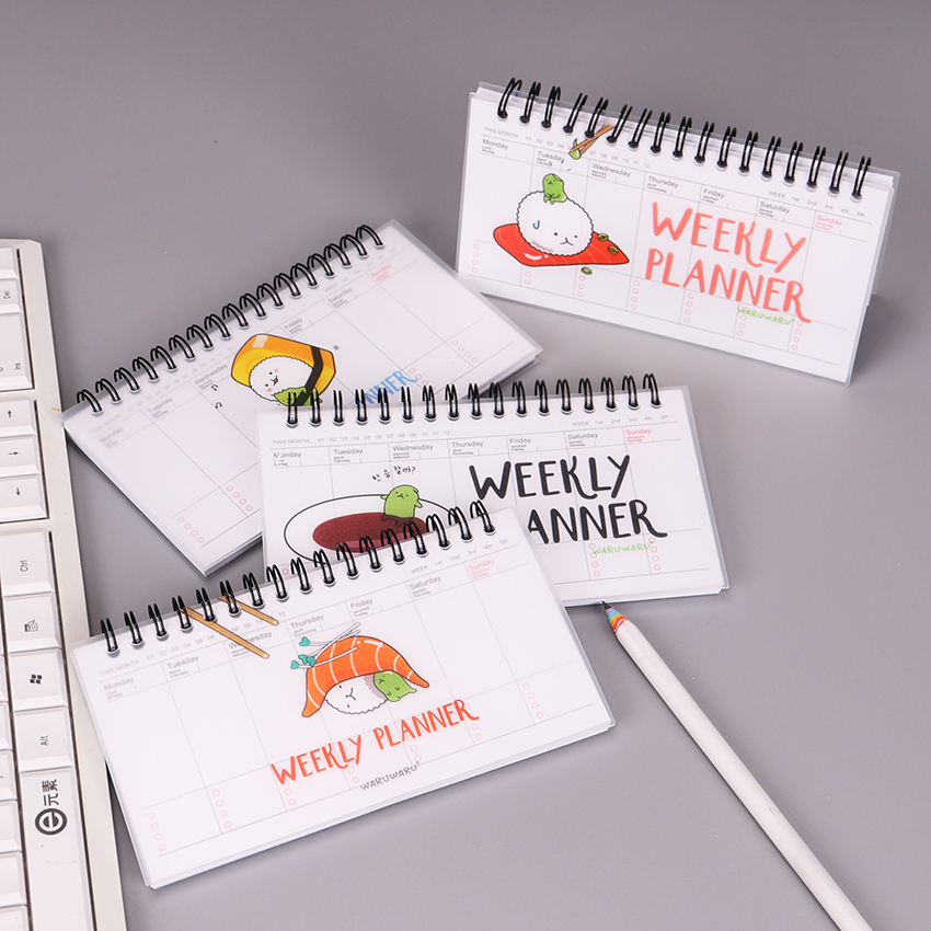Korean Stationery PVC Japanese Cuisine Notebook Weekly Planner Spiral Notepad For Kids Student Office Gift