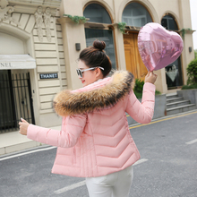 new women winter jacket 2018 hooded plus size 3XL with fur collar warm thick short parkas cotton padded female coats цены онлайн