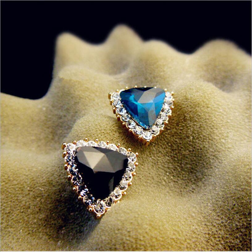 Kuziduocai New Fashion Jewelry Rhinestones Crystal Triangle Dazzling Stud Earring For Women Gift Girls Brincos Statement E-130