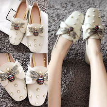 Koovan Women's Flats 2018 New Bee Flat Shoes Pearl Lazy Bow Square Head Shallow Mouth Lok Fu Shoes Women Rhinestone