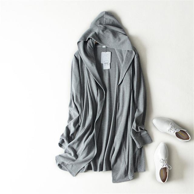 Alta calidad Cardigans Elegante suéter medio-largo flojo camisa del aire acondicionado abrigo mujer abrigo con capucha Gris azul oscuro M-LL