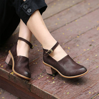 Tyawkiho Genuine Leather Women Pumps 2018 Spring 6 CM High Heels Ankle Strap Coffee Leather Pumps Retro Handmade Women Shoes