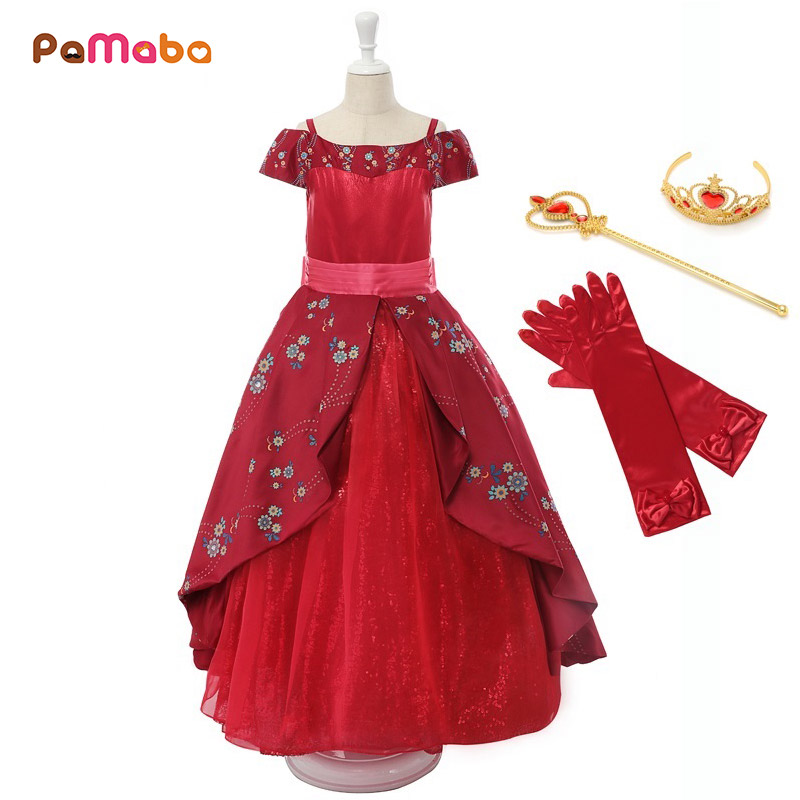 PaMaBa Girls Deluxe Elena Dress Summer Sleeveless Elena of Avalor Princess Birthday Party Costume Girls Fantasy Elena Dress up funko pop bobble фигурка marvel spider man homecoming spider man homemade suit 13315