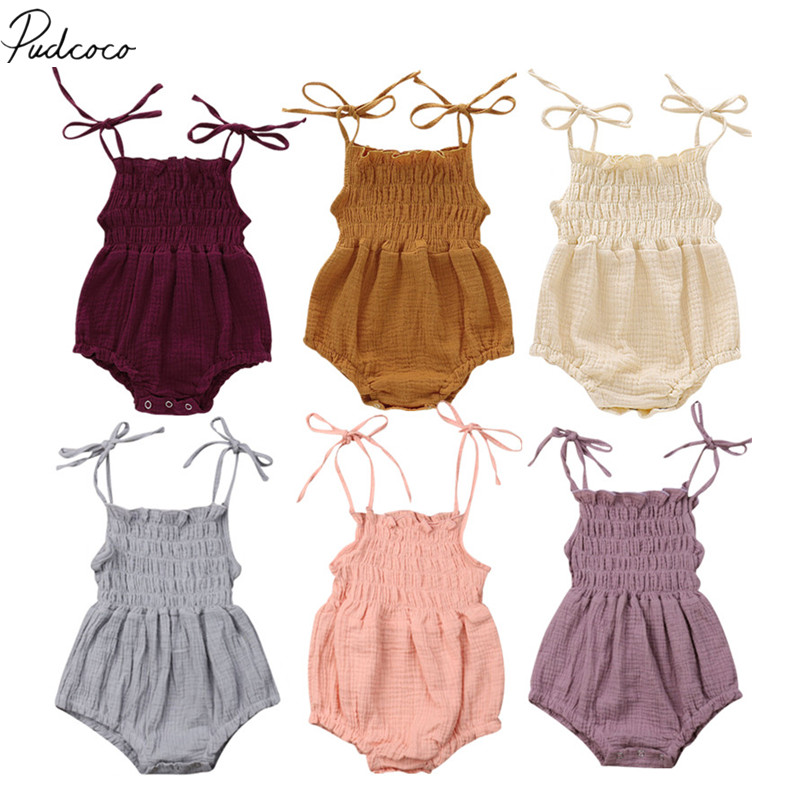 579514951 2019 Children Summer Clothing 6Color Summer Newborn Infant Baby Girl Solid Romper  Jumpsuit Outfit Clothes Baby Clothing