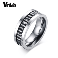 Vinterly 7มิลลิเมตรสีดำประดับเพชรแหวนสแตนเลสแหวน