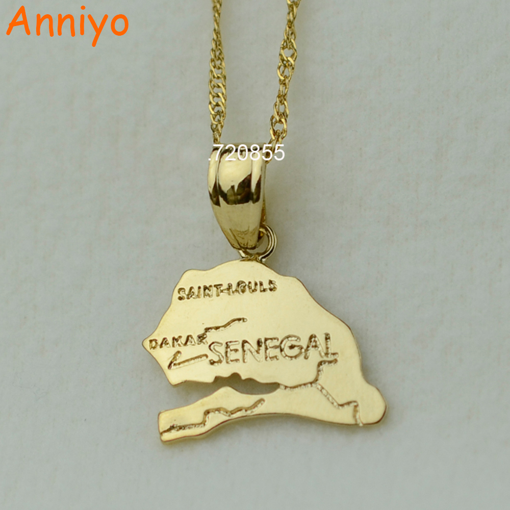 Anniyo the republic of senegal map pendant necklaces afrika women girl gold color jewelr ...