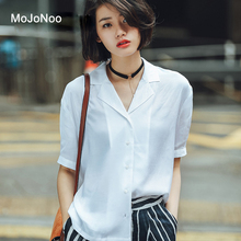 MOJONOO Polyester Short Sleeve Turn-down Collar Blouse Elegant White High Quality 2017 Solid Blouses Shirts For Office Wear Tops