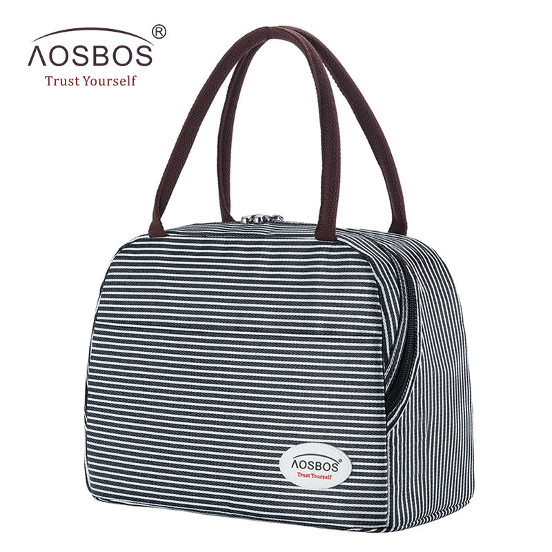 Aosbos Stripe Insulated Lunch Bag Portable Canvas Thermal Food Picnic Lunch Bags Cooler Lunch Box Bag Tote For Women Men Kids
