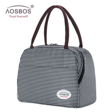 Aosbos Stripe Insulated Lunch Bag Portable Canvas Thermal Food Picnic Lunch Bags Cooler Lunch Box Bag Tote for Women Men Kids цена 2017