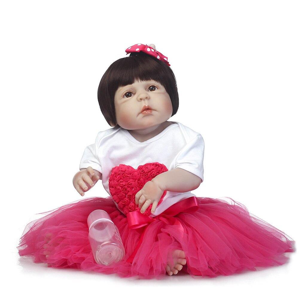 "Reborn NPK doll toys 23"" full silicone reborn baby GIRL blue/brown/green eyes fake babies alive doll bebe-reborn menina bonecas"