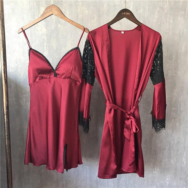 Lisacmvpnel весна новый шаблон сексуальные лед шелковые пижамы 2 Бумага Комплект женщина с длинным рукавом Кружево бретели халат костюм