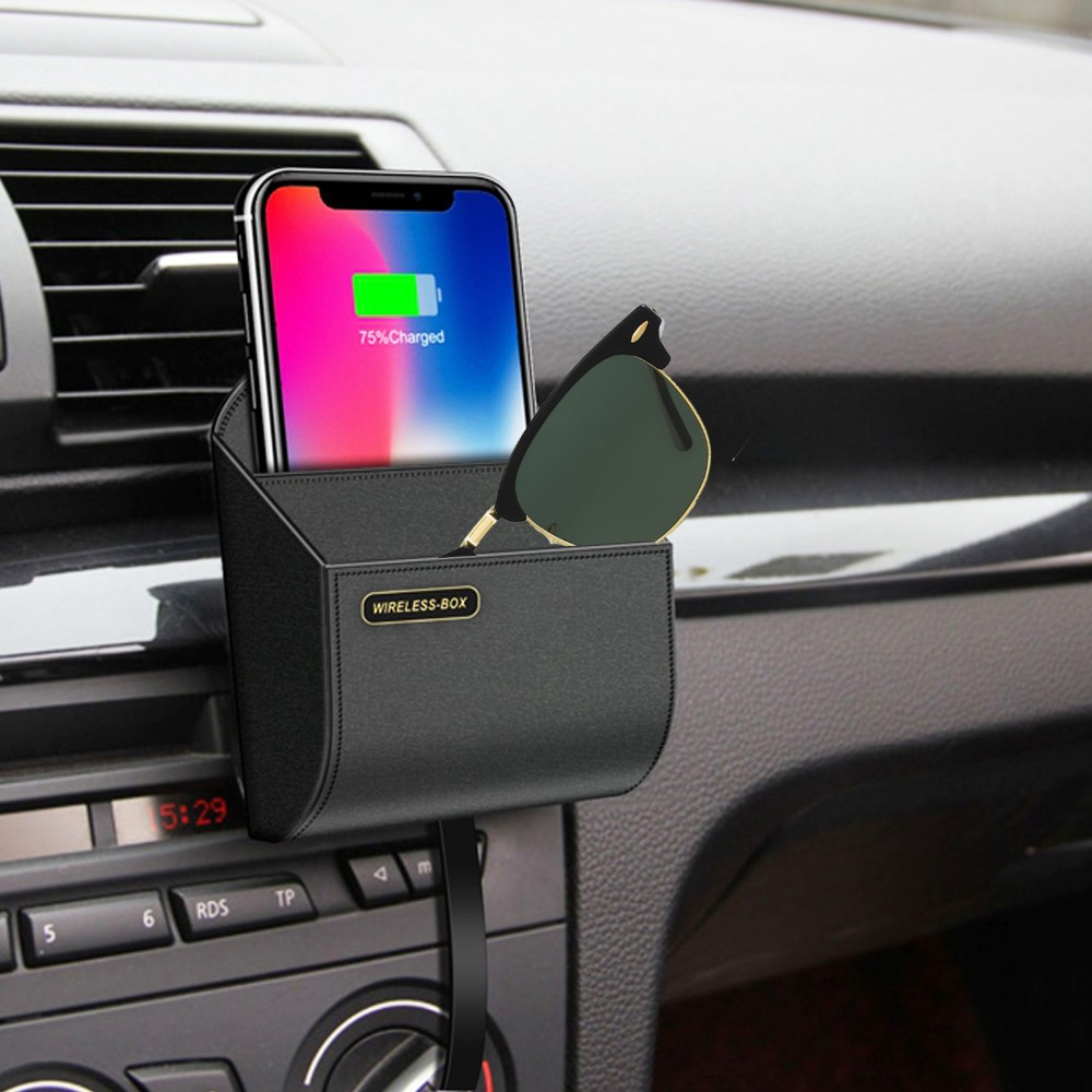 qi car wireless charger box-qi fast phone charger wireless charging pad stand air vent phone holder car storage box chargers9s8