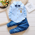 2016 Baby Boys Suit Shirt T-shirt + jeans 2pcs / set striped cardigan bow tie fashion denim suit alphanumeric 8 Kids clothes