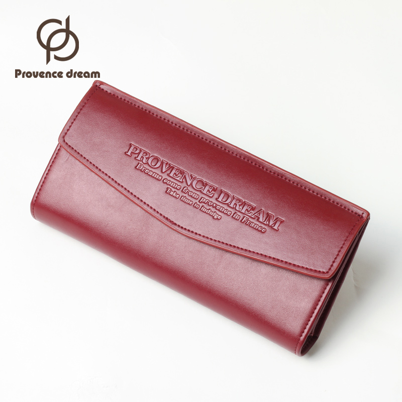 PROVENCE DREAM Brand Genuine Leather Women Wallet Long Purse multiple Cards Holder Clutch bag Fashion Standard Wallet Gift PDL52 new brand genuine leather purse for women real leather women s wallet clutch bag women long wallet purse carteira 2016