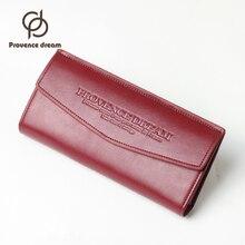 PROVENCE TRAUM Marke Frauen Echtes Leder Brieftasche Langen Geldbörse mehrere Karten Halter handtasche Mode Standard Brieftasche Geschenk PDL52