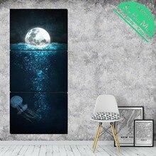3 штуки медузы в лунном свете HD печатные картины на холсте с картинками украшения плакаты и