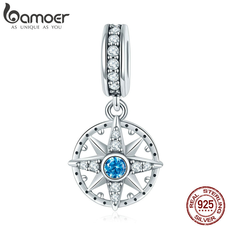 BAMOER 925 Sterling Silver Sparkling Nautical Compass Star Clear CZ Pendant Charms Fit Bracelets & Necklaces DIY Jewelry SCC847 брелок silver angel 150pcs diy 15x22mm a956 fit slide bracelets necklaces jewelry findings