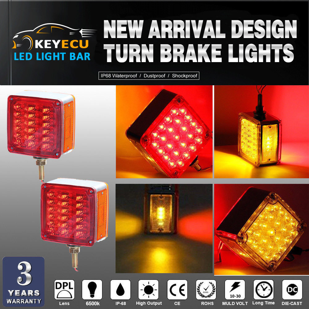 KEYECU Amber/Red Double Face Stud Mount Cab Fender Stop Turn Signal Tail 39 LED Light