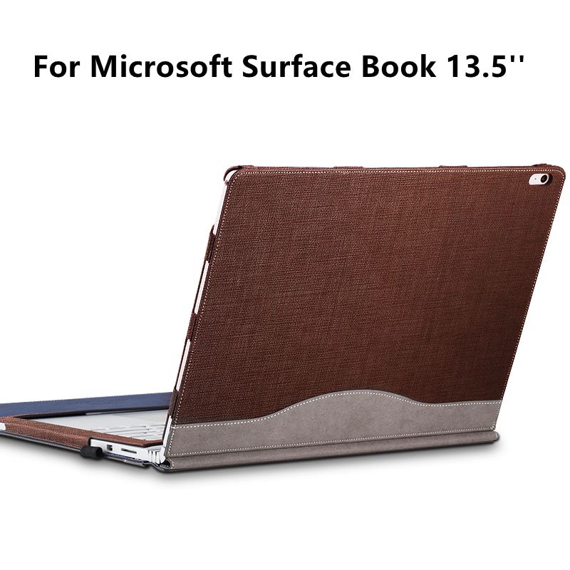 PU Leather Cover For Microsoft Surface Book 13.5 inch Tablet Laptop Sleeve Case For SurfaceBook 2015 Detachable Protective Shell genuine leather case for 2017 microsoft surface book 13 5 tablet laptop sleeve creative design for 2015 surface book 13 5