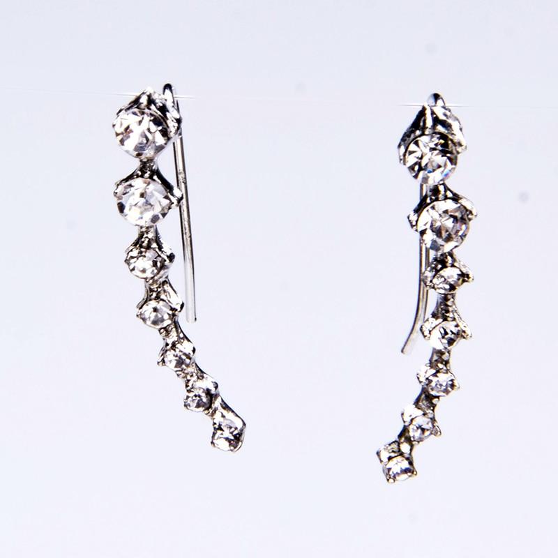 Belo Cristal de Prata noiva Borla Longos Brincos Reluzentes Completa CZ  Rhinestone Cristal Brinco Para Mulheres da Jóia Do Casamento 9fbd3a6a63