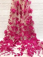 hot pink 3d chiffon flowers lace fabric, red 3d rosette lace fabric, french lace fabric, wedding prop, photography backdrop