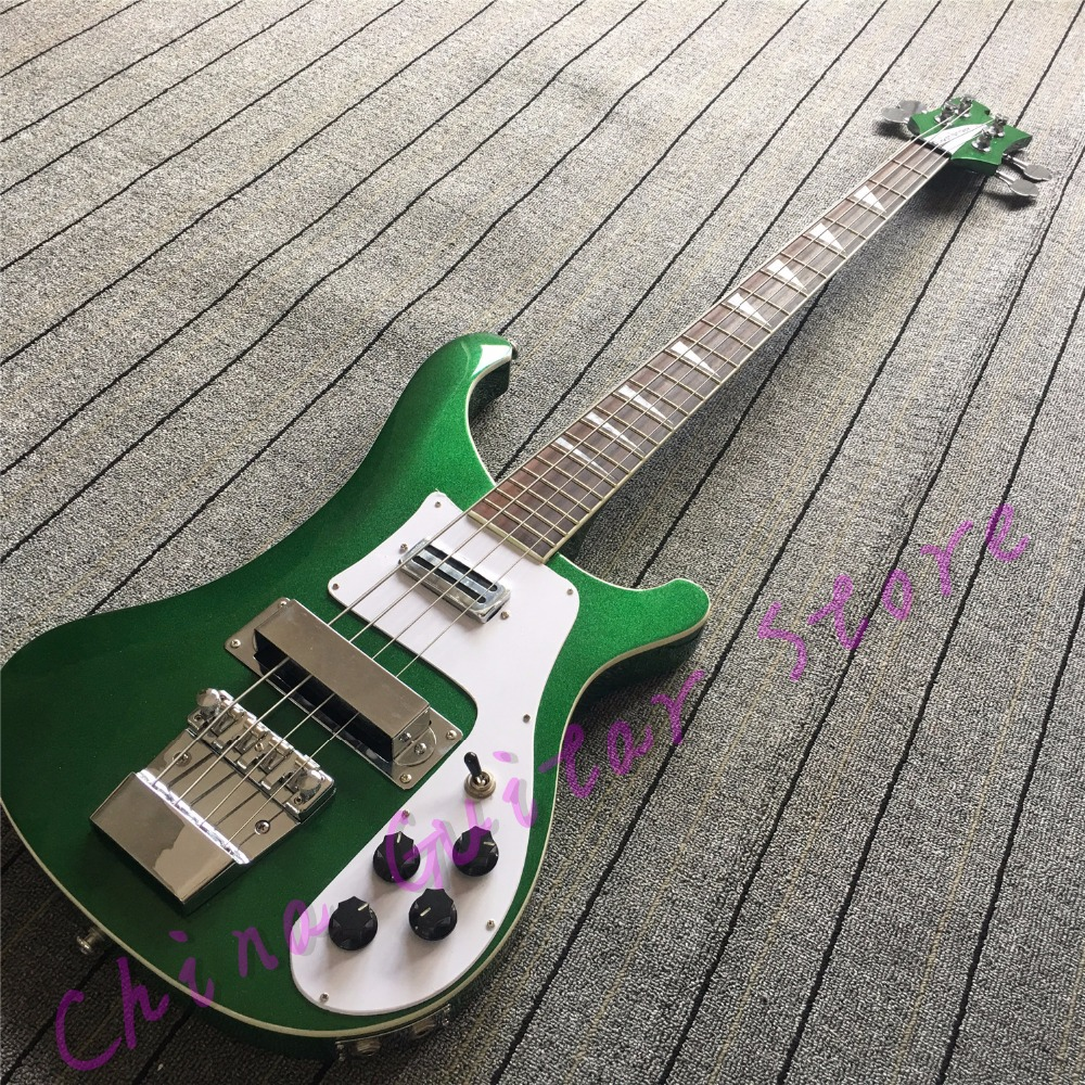 top quality metallic green 4003 bass guitar through maple neck korean accessories dual outputs. Black Bedroom Furniture Sets. Home Design Ideas