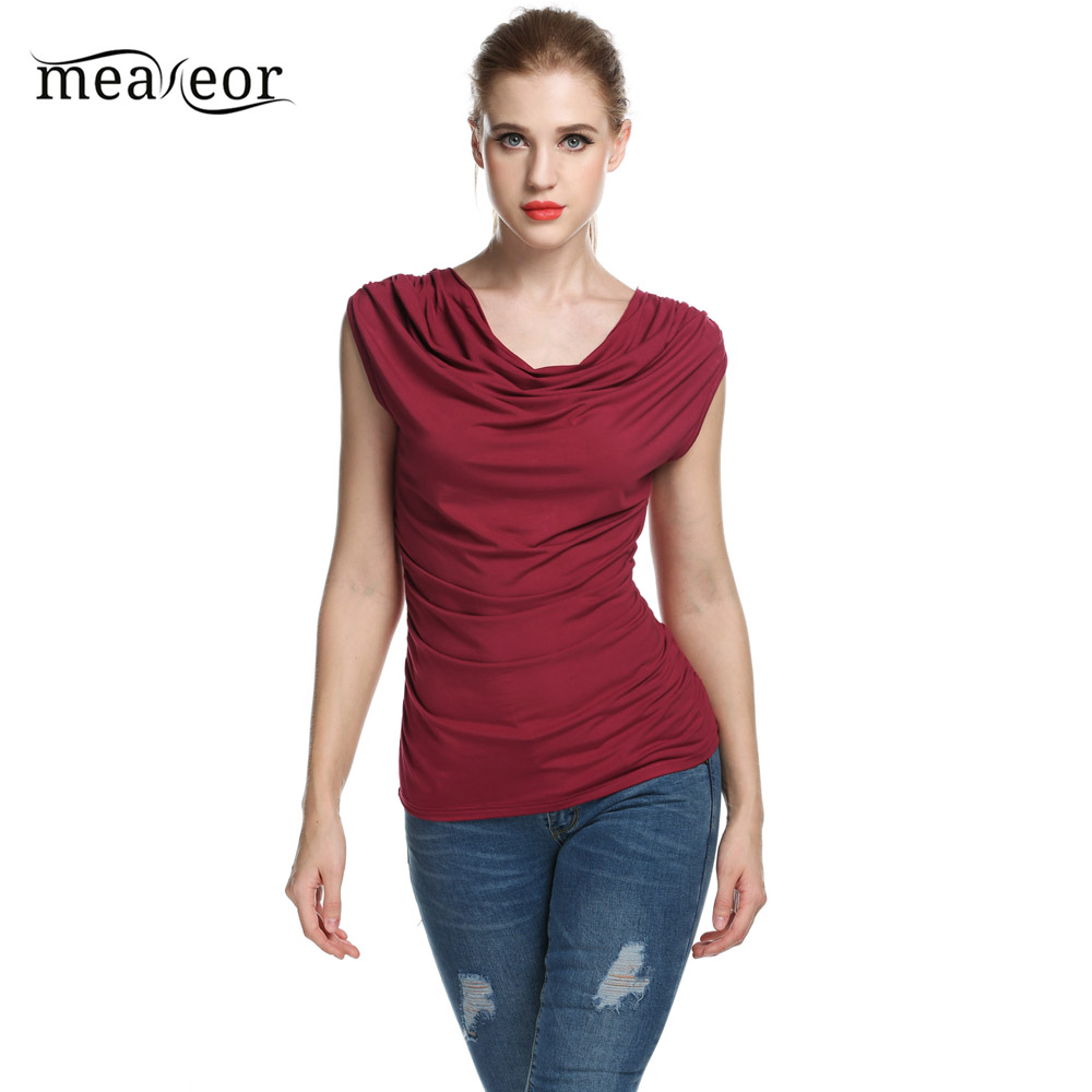 Meaneor New 2018 Sleeveless Ruched T Shirt Women Casual Summer Solid Femme Sexy Tees Slim Fit Tops Female