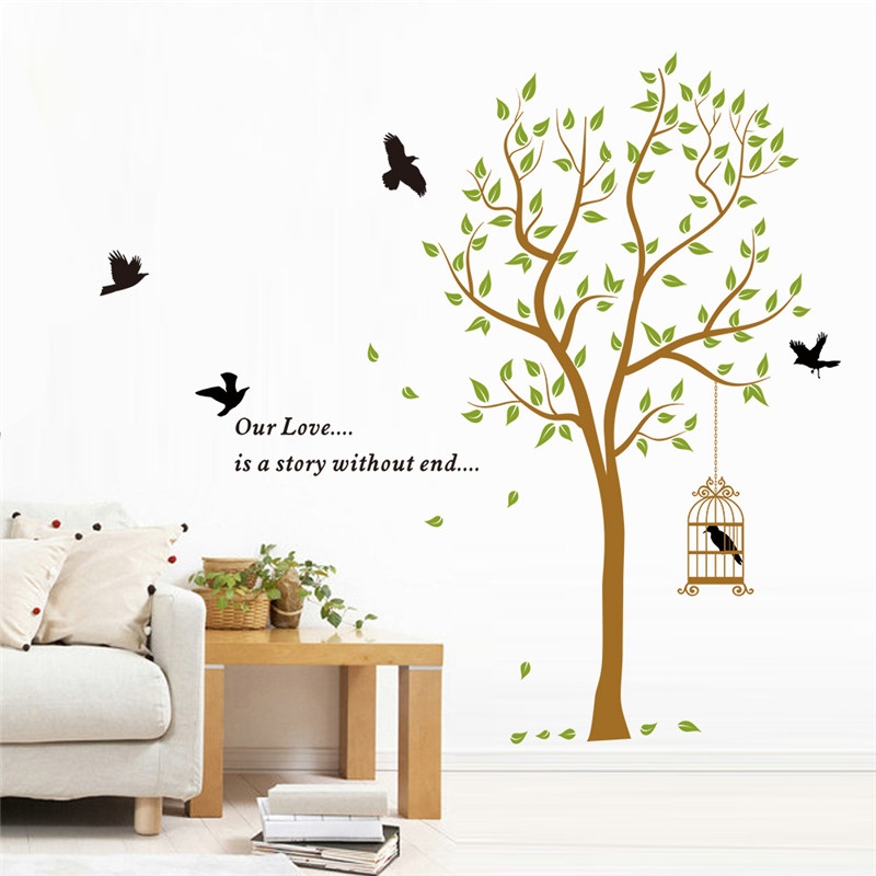 quote Our Love Story Without End diy tree birds flower baby lover bedroom room decor wall stickers removable wedding gifts