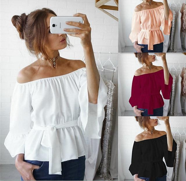 5f6cb0d527f1 R$ 56.48  BJHOW Blusas Mujer de Moda 2017 Mulheres Novo Estilo Europeu  bandagem Encabeça Blusas de Viagem Casual Wear Camisas Sólidos Cruz Cinta  ...