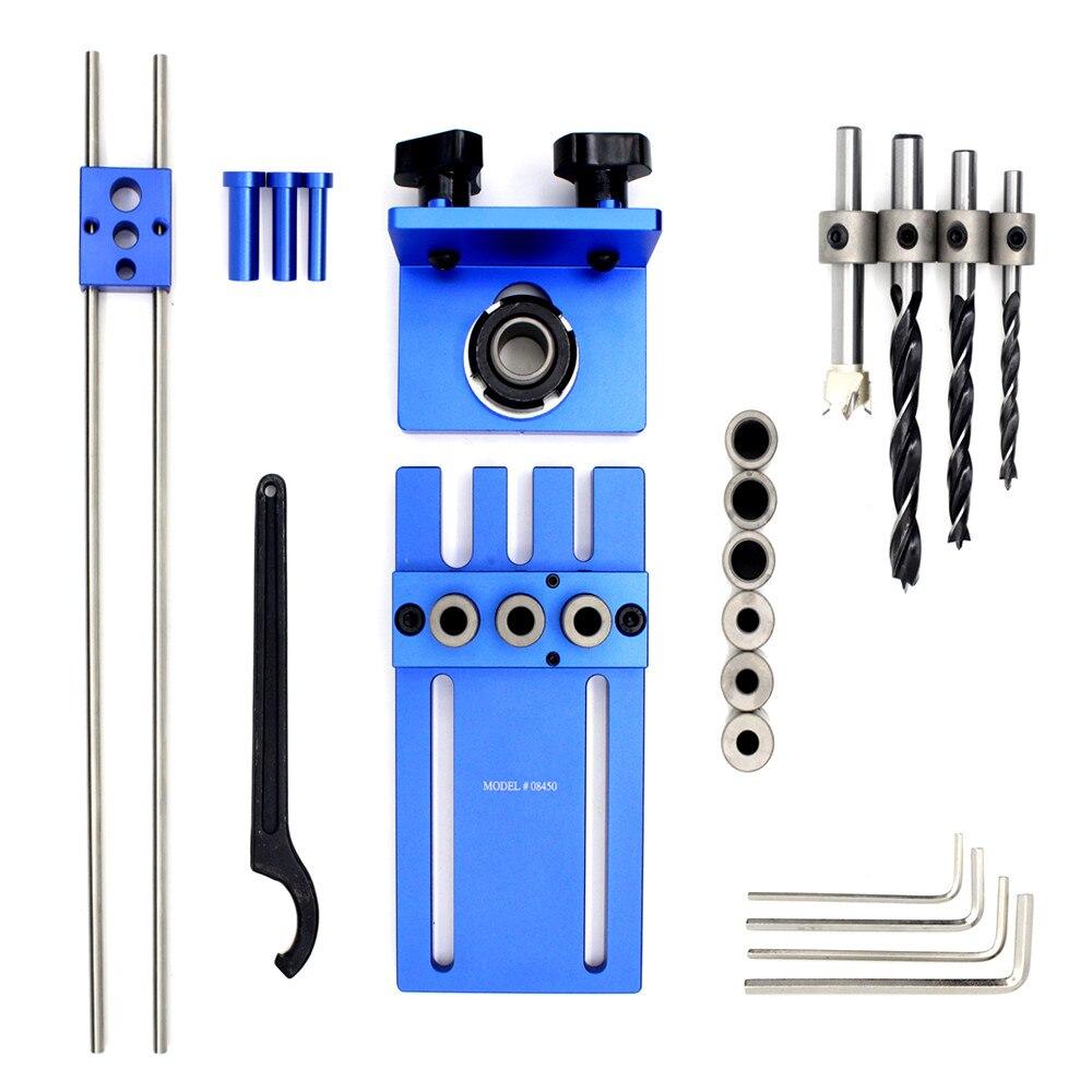 FAI DA TE Del Legno Tassello di Falegnameria Jigs Kit 3in1 localizzatore di Perforazione Perforazione Guida Tools Kit