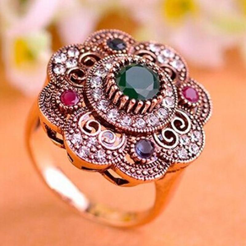 Blucome Tureckie pierścienie dla kobiet Biżuteria turecka Vintage Flower Ring Czerwony pierścionek akrylowy dla kobiet Aneis Flower Anillos Ouro