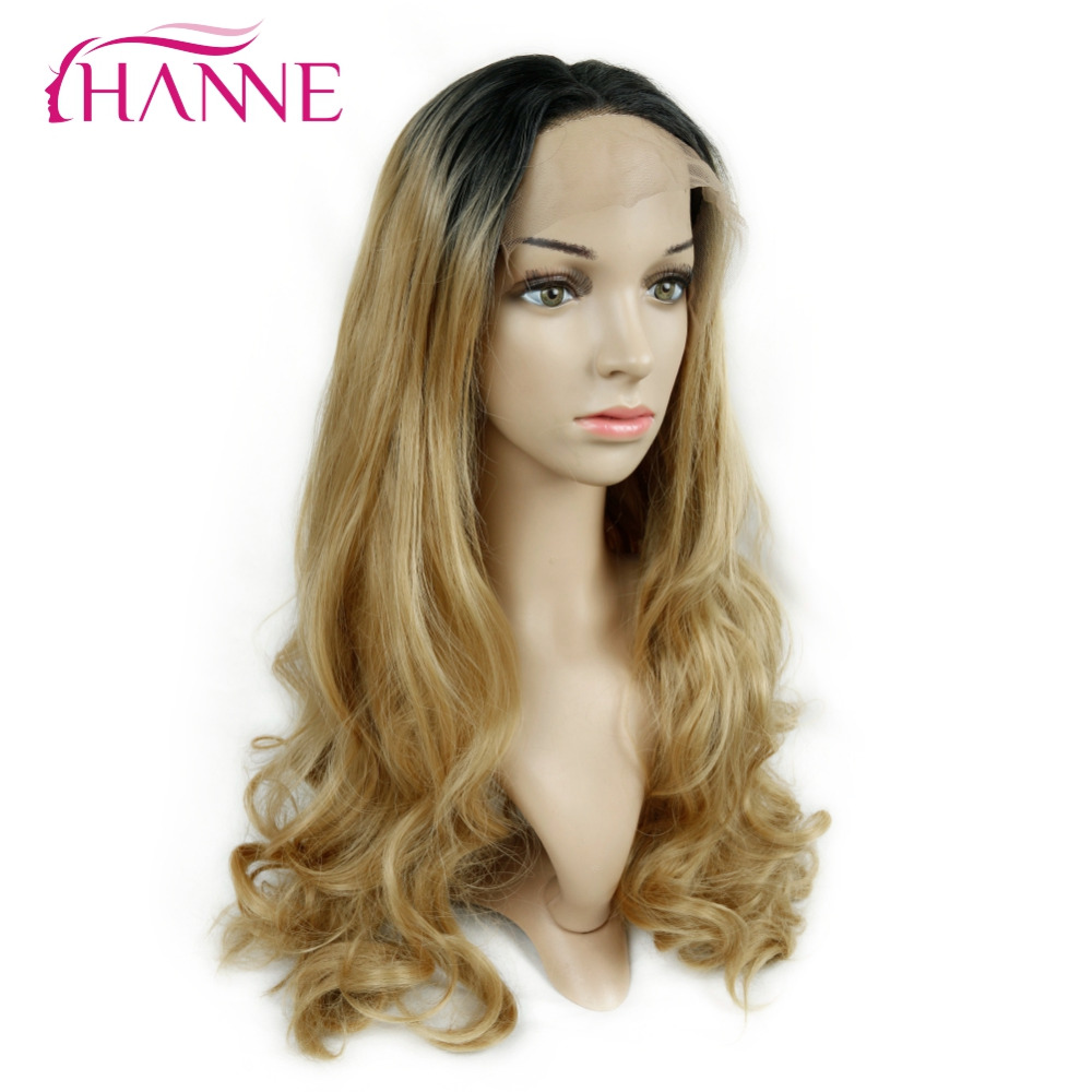 HANNE Long Ombre Wig 1B Blonde/Golden/Burgundy Body Wave Heat Resistant Synthetic Hair Full Lace Wigs For Women Daywear Or Party