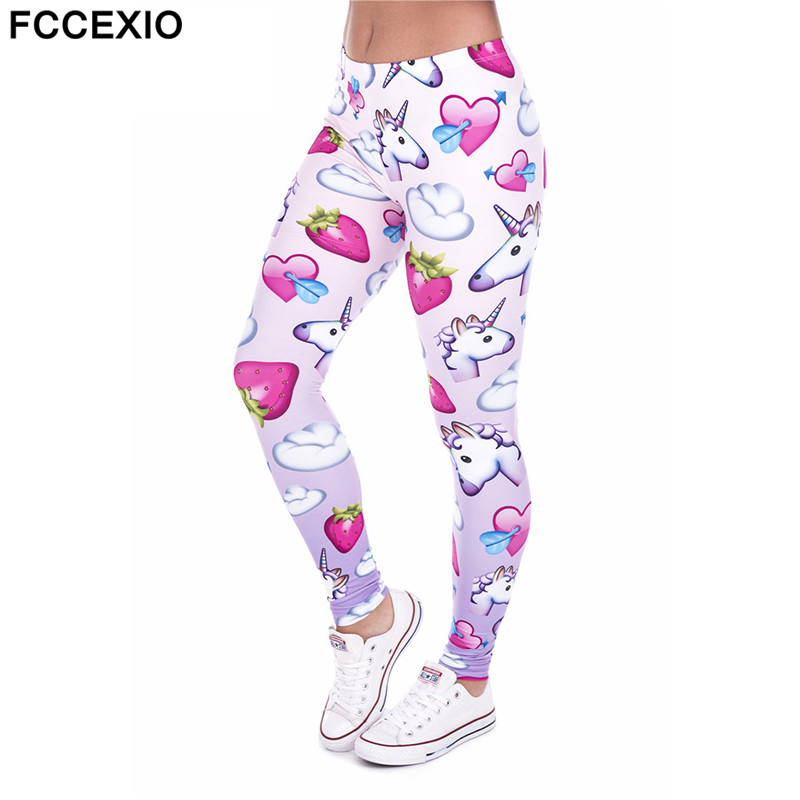 FCCEXIO Brands New Women   Leggings   Unicorn And Pink Love 3D Print Leggins Fitness   Legging   Sexy Slim High waist Woman Summer pants