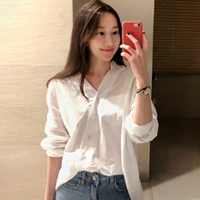 shintimes White Blouse Long Sleeve Shirt Women Clothes 2019 Summer Tops New Asymmetry Loose Korean Style Chemise Femme Plus Size
