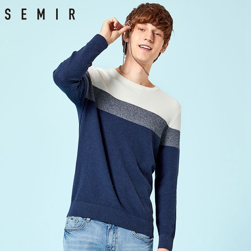 SEMIR Sweater Male Korean Men Round Neck Striped Color Knitted Sweater Fresh Youth Fashion Stripes Multicolor Tops Clothes