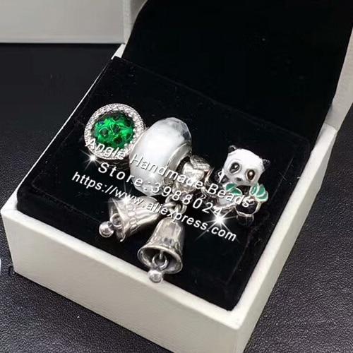 4 pièces Ensemble De Bijoux De Mode S925 Argent Noir Blanc Panda En Émail Charmes Perles bracelet à bricoler soi-même Colliers Fabrication De Bijoux Femme Cadeau
