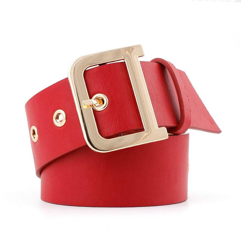 2019 New Designer Rock Punk Ladies Wide Black Red Grommet Leather Belt Female D Ring Buckle Waistband Belts For Women Dress Coat