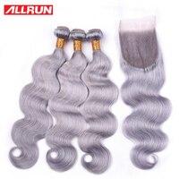 Allrun серый Remy пучки волнистых волос с закрытием 4*4 Бесплатная часть швейцарская шнуровка с бразильскими пучками человеческих волос